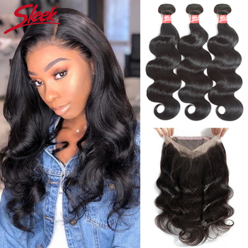 360 Body Wave Bundles With Frontal Brazilian Human Hair Weave Bundles With Closure Remy Lace Frontal With Bundles image