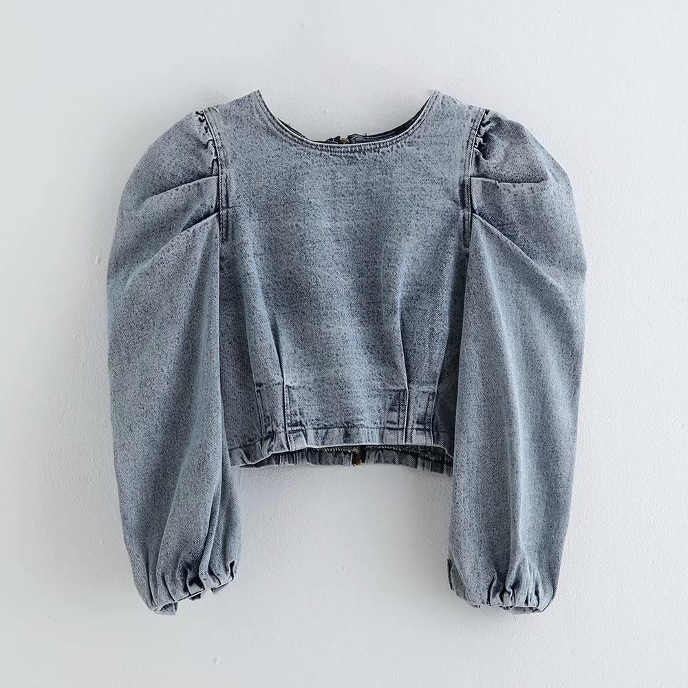 Women Vintage Puff Sleeve Pleats Denim Casual Short Blouses Ladies O Neck Back Zipper Chic Shirt Autumn Jeans Blusas Tops LS4500