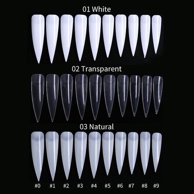 50Pcs/Kit Fake Nail Tips Natural White Transparent Mixed Colors Sharp Long French False Nails Ultra Thin Nail Art Tips