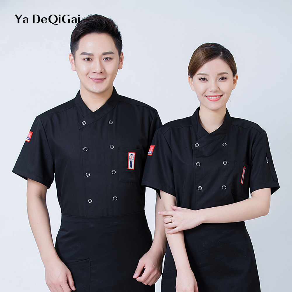 Ladies Chef Shirts Unisex Hotel Uniform Dessert Waiter Back Kitchen Hot Pot Shop Master Work Clothes Breathable Sushi Costume
