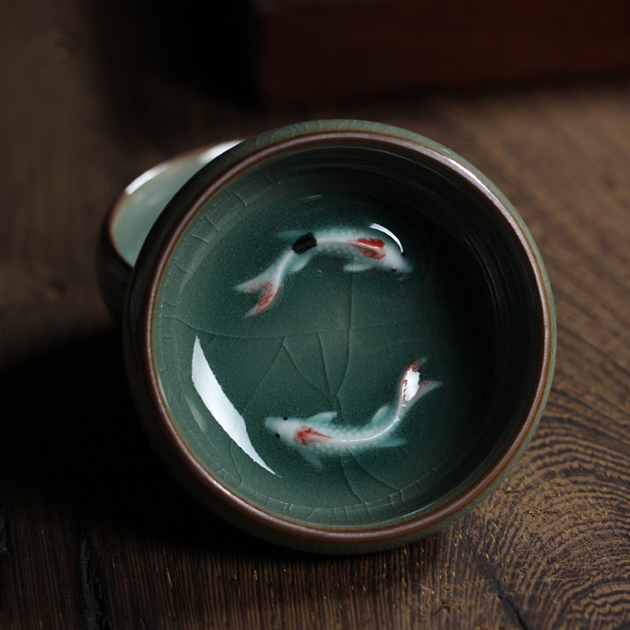 [GRANDNESS] Chinese Longquan Celadon Porcelain China Teacup And Saucer Tea Bowl With Golden Fish 60ml Celadon Crackle Teacup