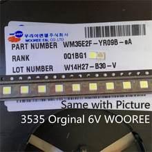 100 pces para wooree led backlight lcd tv grânulo 6 v 2 w 3535 led smd lâmpada grânulo 3535 branco frio