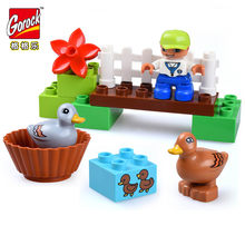Big Size Happy Farm Mini Animal Figures Building Blocks Set For Kids DIY Gifts Compatible Legoed Duploe City Brick Baby Toy Gift(China)