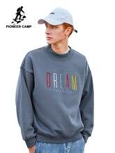 Pioneer camp moda grosso hoodies inverno quente velo 100% algodão causal streetwear moletom para homem awy901305