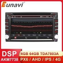 Eunavi 2 din android 10 reprodutor de multimídia carro dvd rádio navegação gps auto 2din ips tela sensível ao toque 4g 64gb dsp wifi áudio bt5 usb