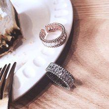 MENGJIQIAO-Anillo de circonia cúbica para mujer, delicado brillante, Micro pavé de piedra CZ, anillo ajustable abierto, joyería, regalos para estudiantes