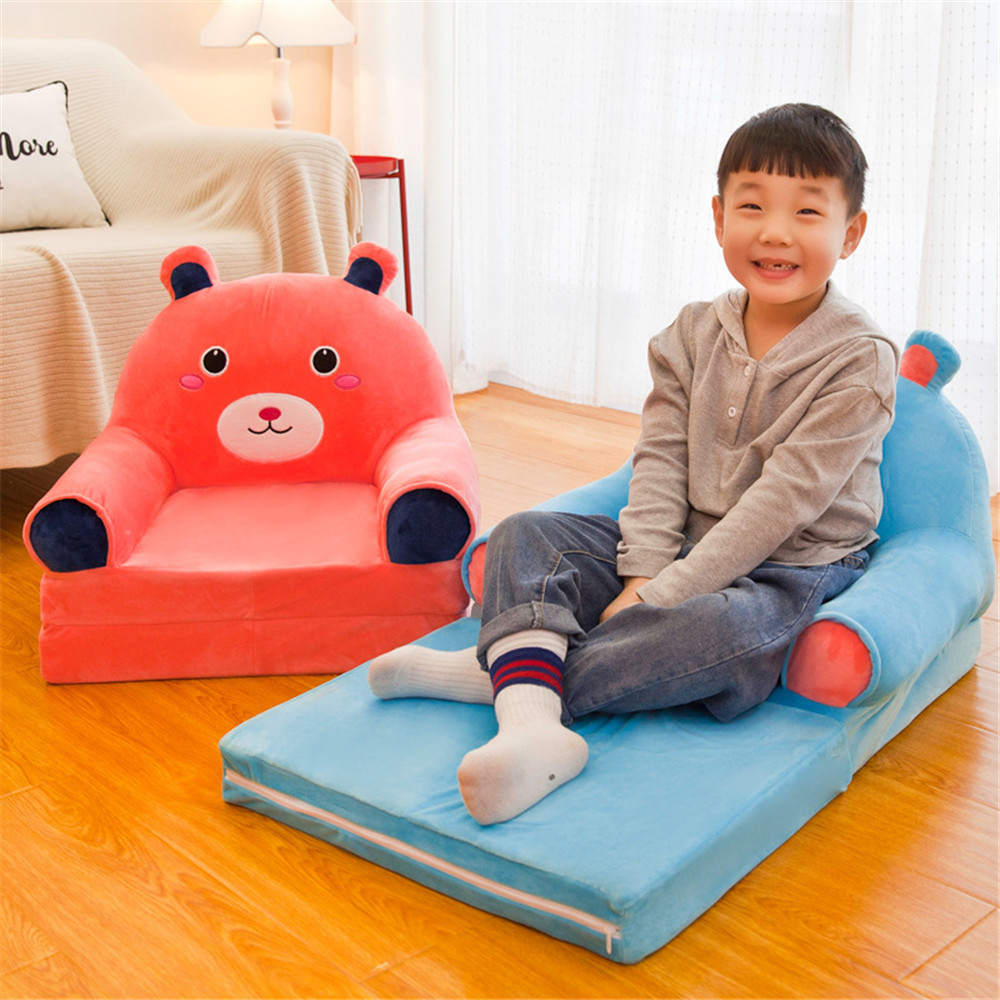Children Folding Small Sofa NO Padding Cartoon Cute Boy Girl Lazy Lying Seat Bed Baby Stool Kindergarten Removable And Washable