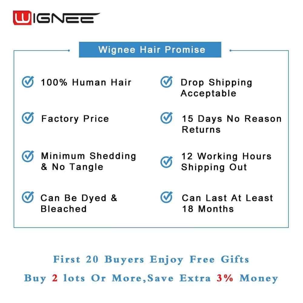 Wignee Lace Part Short Human Hair Wigs For Black Women Brazilian Hair 150% High Density Glueless Natural Wave Black Human Wigs