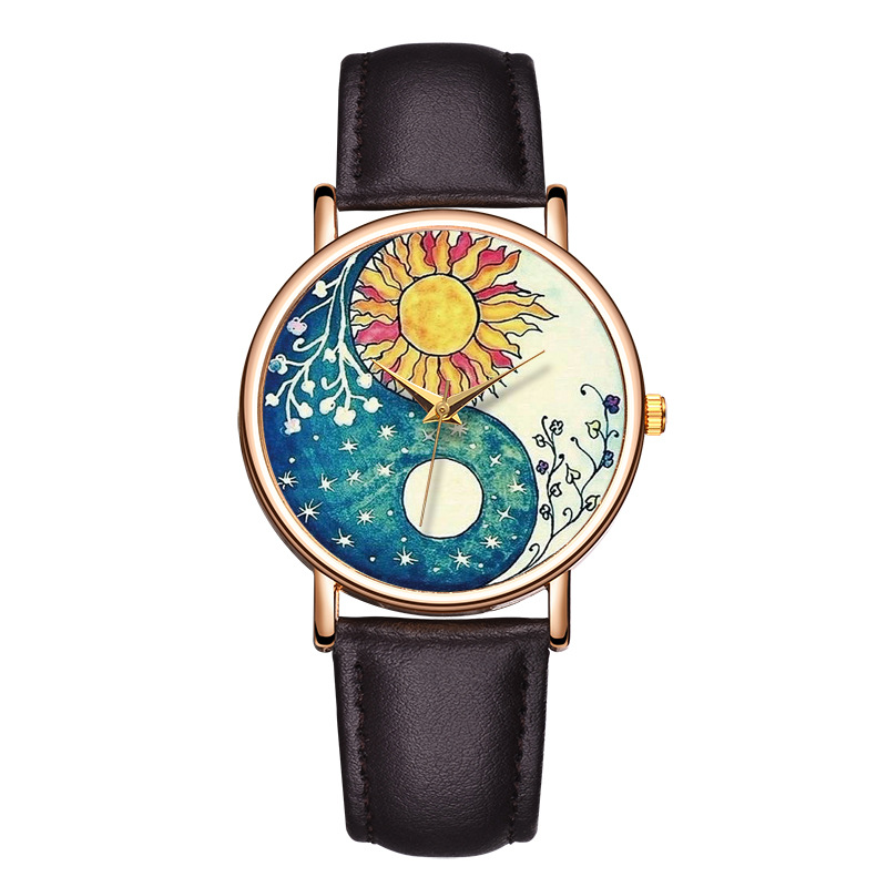 Sunflower Trend Casual Simple Personality Fashion Ladies Watch PU With Simple Quartz Performance Ladies Watch Christmas Gift
