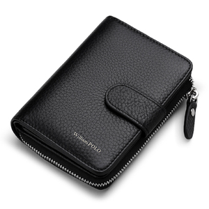 Image 1 - WILLIAMPOLO Man Walet Genuine Leather Hasp Closure Card Holder Small Bag With Gift Box for Men Card Wallet Mens Wallet PL319