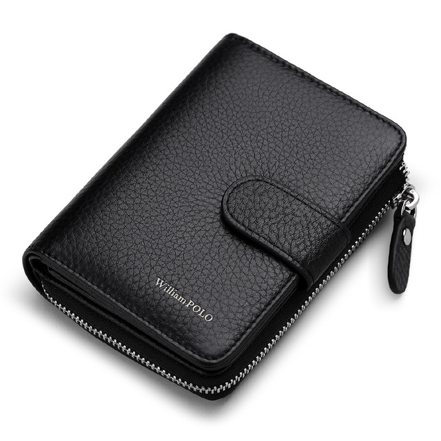 WILLIAMPOLO Man Walet Genuine Leather Hasp Closure Card Holder Small Bag With Gift Box for Men Card Wallet Mens Wallet PL319