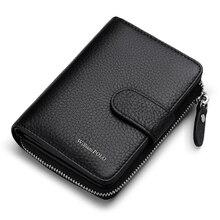 ويليابولو رجل Walet جلد طبيعي غلق بمشبك إغلاق حامل بطاقة حقيبة صغيرة مع صندوق هدية للرجال بطاقة محفظة الرجال المحفظة PL319