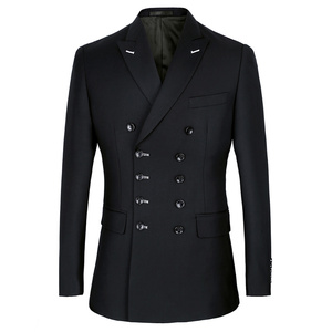 Image 2 - Shenrun Men Suits Slim Fit New Fashion Suit Double Breasted Peak Lapel Navy Blue Black Wedding Groom Party Prom Skinny Costume