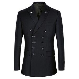 Image 2 - Shenrun גברים חליפות Slim Fit חדש אופנה חליפת טור כפתורים כפול שיא דש חיל הים כחול שחור חתונה חתן מסיבת נשף סקיני תלבושות