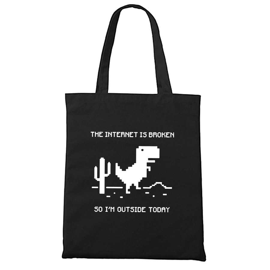 Programmer Geek Canvas Tote Bag Internet Is Broken Unisex Durable Travel Men Women Black Cotton Shopping Bags