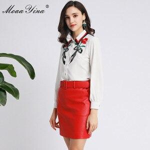 Image 3 - MoaaYina Fashion designerski strój wiosna jesień kobiety z długim rękawem koszula haftowana topy + PU krótka spódnica elegancki dwuczęściowy zestaw