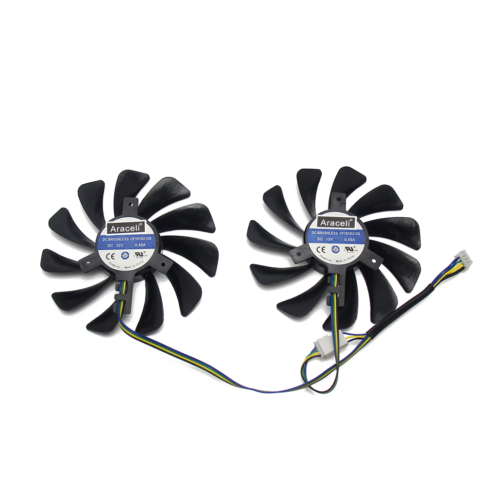 2pcs/set95MM FDC10U12S9-C CF1010U12S CF9010H12S XFX RX580 GPU Cooler Fan For HIS RX 590 580 570 Graphics Card Cooling 5