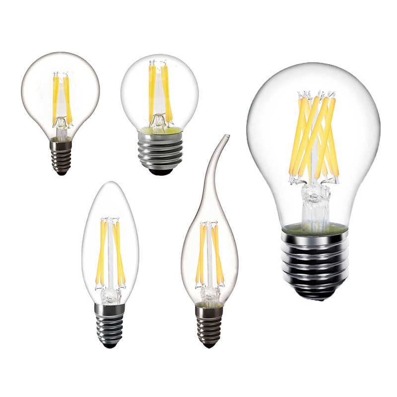 LED Edison Bulb 220v E27 E14 LED candles Filament light Clear Glass Vintage A60 G45 C35  Lamp240v AC Indoor Decorative lighting