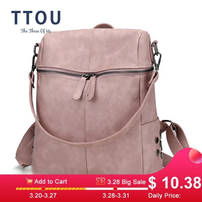 TTOU Women Casual Women Backpack PU Leather School Backpack For Teenager Girls Travel Backpack Vintage Solid Shoulder Bags