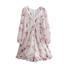Women 2021 Za Summer Chic Fashion Print Lining Mini Dress Vintage Transparent Three-Quarter Sleeves Female Dresse Vestidos Mujer