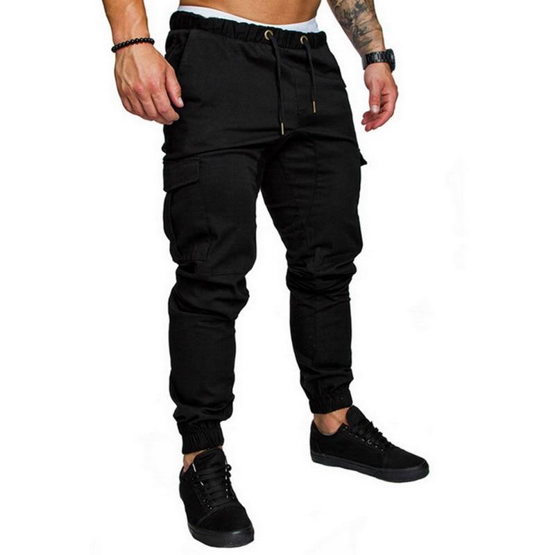 2019 New Autumn Men Pants Hip Hop Harem Joggers Pants Male Trousers Mens Joggers Solid Multi-pocket Pants Sweatpants M-4XL