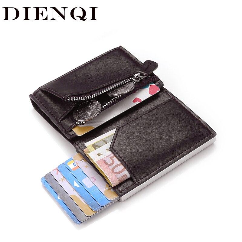 Dienqi rfid titular do cartão dos homens carteira saco de dinheiro masculino preto curto bolsa 2020 zíper pequeno trifold fino mini magia carteira pop up