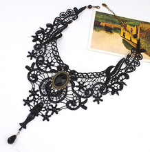 Hello Miss New exaggerated lace necklace retro Gothic multi-layer crystal choker fashion womens