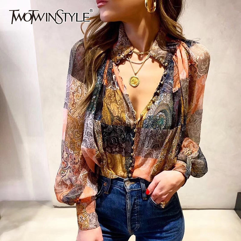 TWOTWINSTYLE Vintage Print Long Lantern Sleeve Stand Neck Single Breasted Blouse Women Shirt 2019 Fashion Clothing