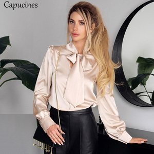 Fashion Bow Tie Imitation Silk Blouses Women Spring Autumn Long Sleeves Satin Shirt Korean Chic Solid Tops Office Lady Work Wear(China)