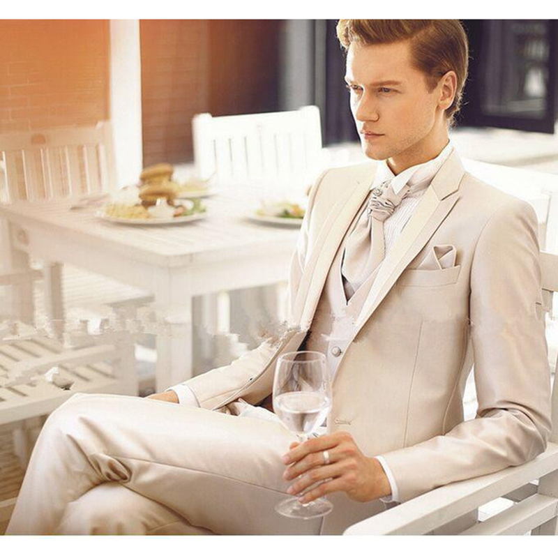 Hot Sale Beige Men Suit Slim Groom Groomsmen Wedding Tuxedos Suits Tailor Made Men Business Blazer (Jacket+Pants+Vest)