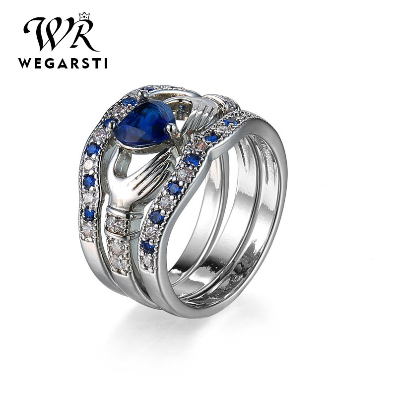 WEGARSTI 925 Sterling Silver Round Blue Gemstone Micro CZ Engagement Finger Rings Women Girls Wedding Party Fine Jewelry