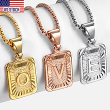 Initial A-Z Alphabet Capital Letter Pendant Necklace for Men Women Stainless Steel Box link  Chain Ddropshipping US Stock GPM05A