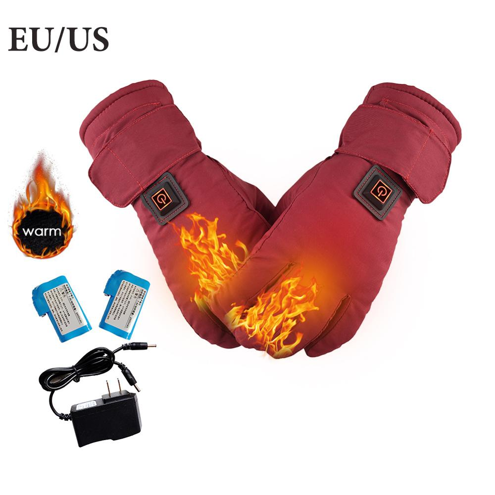 Women Electric Heated Gloves Waterproof Adjustable Temperature Lithium Battery Powered Gloves For Outdoor Ski Motorcycle Cycling