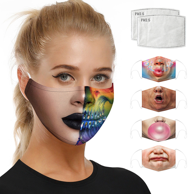 Digital Printing Motorcycle Face Mask Mouth Balaclava Moto Mask Dust Protective Activated Carbon Filter Caps Face Masks Reusable