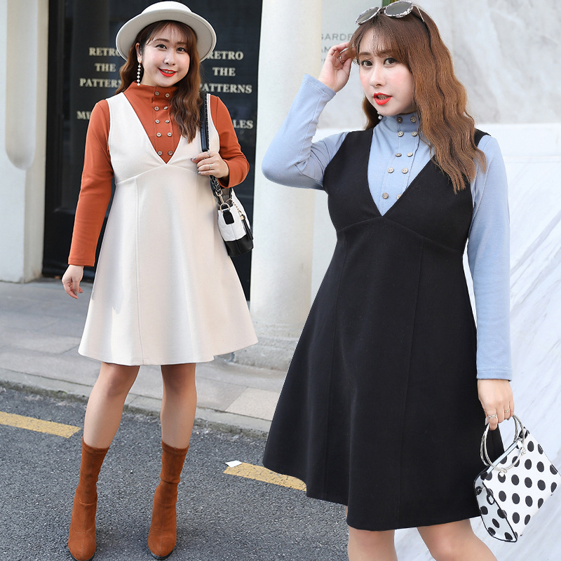 [Xuan Chen] Large GIRL'S 2019 Autumn And Winter New Products Large Size Dress Wholesale Graceful Set Woolen Two-Piece 1589