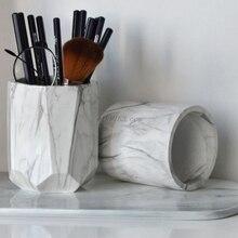 Escritório casa criativa caneta titular pincéis de maquiagem vaso caixa de armazenamento com grãos de mármore recipiente de mesa ferramenta