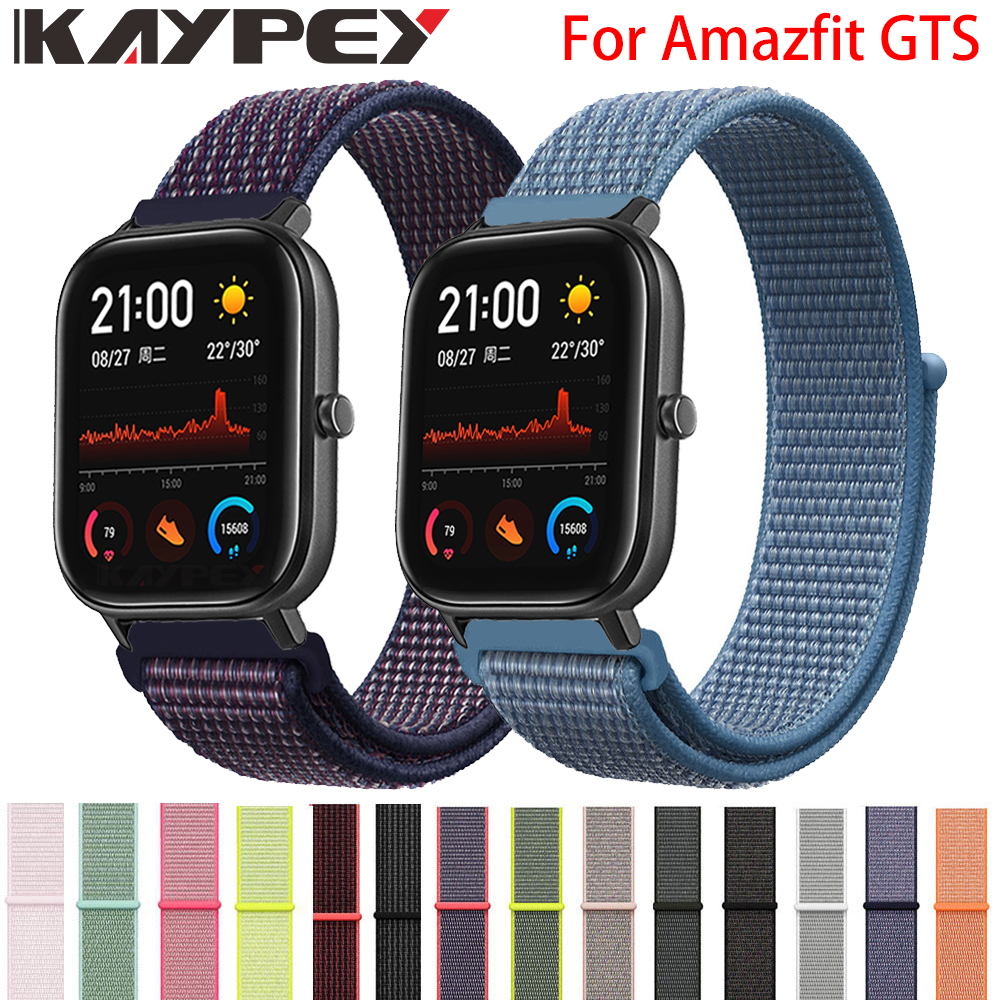 20mm Nylon Loop Woven Strap For Xiaomi Huami Amazfit GTS Smart Watch Wearable Wrist Bracelet For Amazfit Gtr 42mm Watchband
