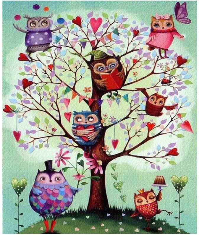 ต้นไม้เพชรโมเสคการ์ตูนนกฮูกเพชรจิตรกรรมภาพวาดภาพปริศนา Brid Wall Decor สติกเกอร์ลูกปัดเย็บปักถักร้อยข้าม Stitch