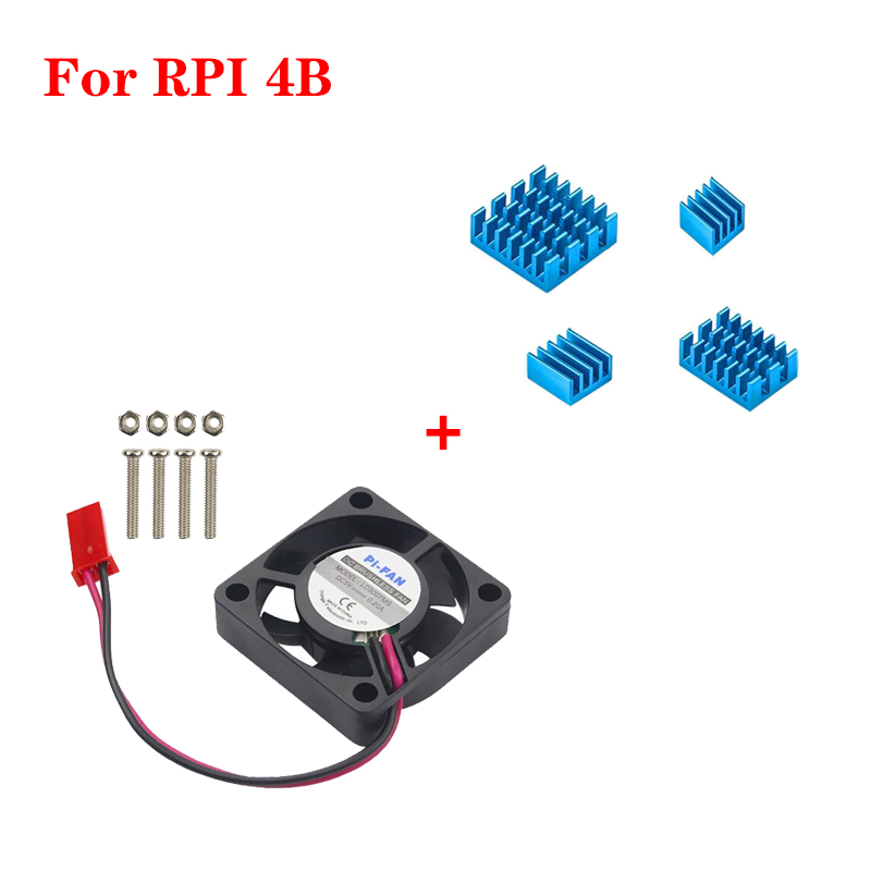 Cooling Fan CPU Cooler With Blue Aluminum Heat Sink Radiator For Raspberry Pi 4