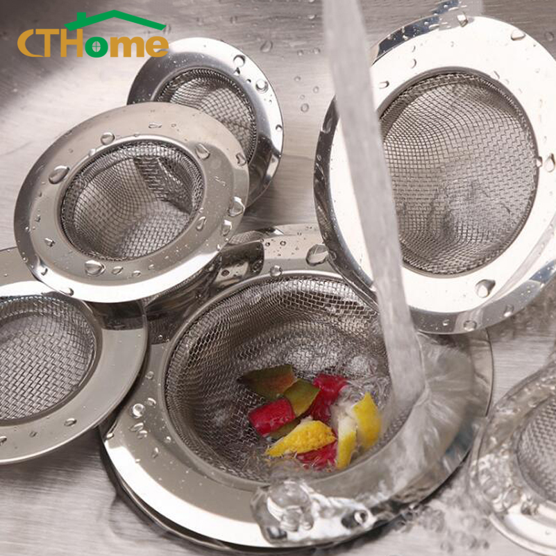 1PCS Household Stainless Steel Sink Filter Pool Bathtub Bathroom Sewer Floor Drain Kitchen Anti-clog Slag Strainer Accessories