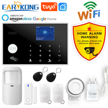 Sistema de alarme tuya com fio gsm, alarme de 433mhz sem fio e com fio, detector anti assalto, cartão rfid tft, lcd e teclado touch 11 idiomas