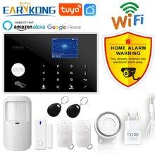 Wifi GSM Alarm sistemi Tuya Alarm 433MHz kablosuz ve kablolu dedektör hırsız alarmları RFID kart TFT LCD dokunmatik klavye 11 diller