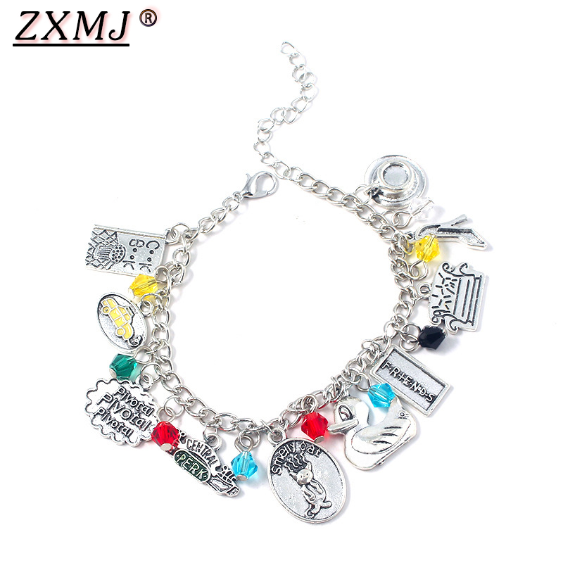 ZXMJ Friends Bracelets Central Perk Coffee Time fashion TV Show Charms Bangles Bracelet For Men Women Girl Jewelry Gift image