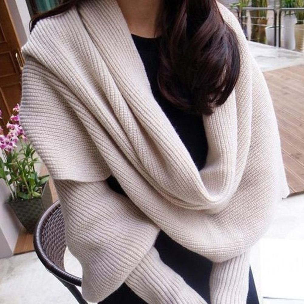 Women Scarf with Sleeves Crochet Knitted Wrap Scarf with Sleeves Sweater Scarf Winter Scarves Cape Long Shawl Warm Large Scarf