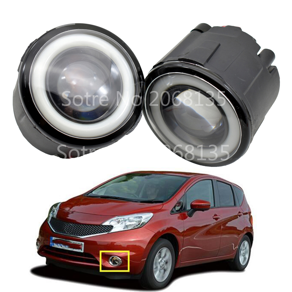 <font><b>2x</b></font> Car LED Fog Lights 90mm Round with Angel Eye For Nissan Note Murano Z51 Juke Patrol 2006-2015 For Nissan Lafesta 2004 image