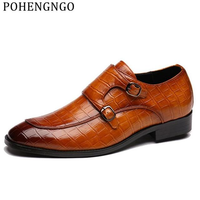 Details about  /Mens Formal Crocodile Print Business Leather Pointy Toe Buckle Party Dress Shoes