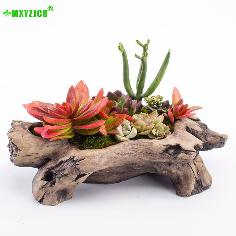 Imitate Wood And Meat Flowerpot Will Caliber Small Rabbit Number Old Pile Basin Originality Personality Modern Concise 10cm