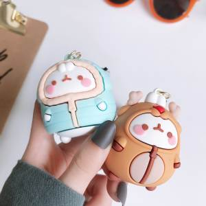 Cartoon Keychain Rubber Lovers-Bag Rabbit Korean Molang Car-Pendant New