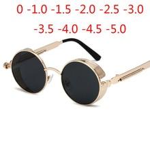 Gold Metal Polarized Sunglasses Gothic Steampunk Vintage Shield Eyewear Shades Prescription Sun Glasses 0 -0.5 -1.0 -2.0 To -5.0