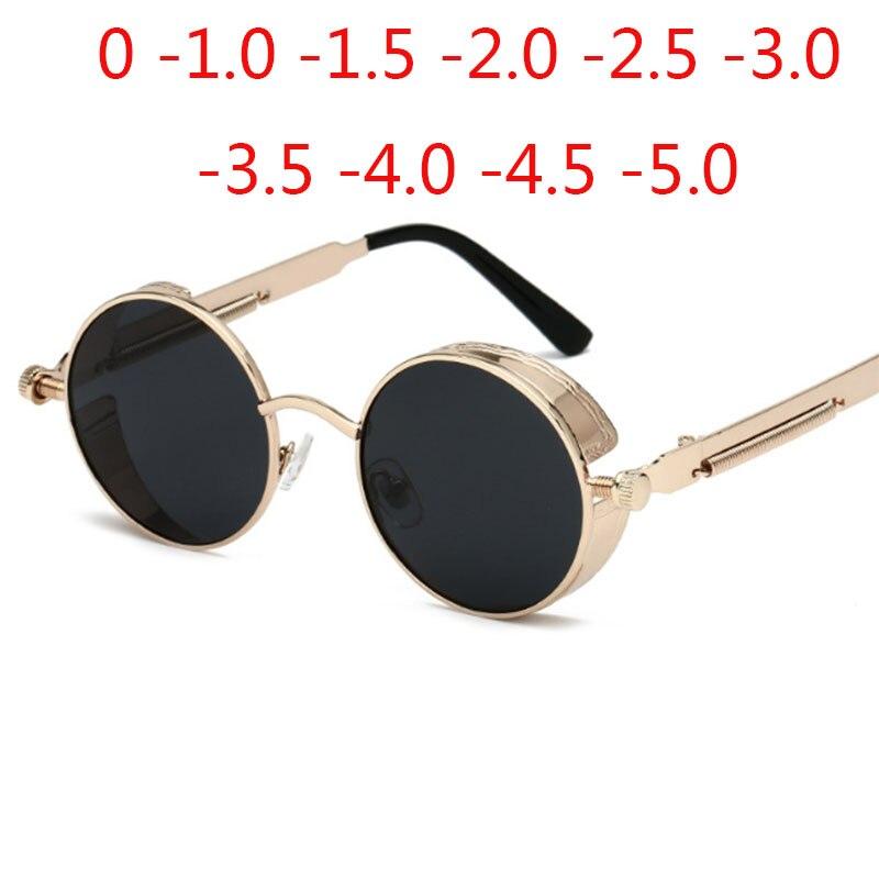 Gold Metal Polarized Sunglasses Gothic Steampunk Vintage Shield Eyewear Shades Prescription Sunglasses 0 -0.5 -1.0 -2.0 To -5.0
